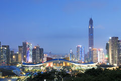 Shenzhen cityscape at dusk with the Civic Center and the Ping An IFC on foreground Royalty Free Stock Photos