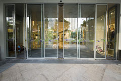Shenzhen Commercial Mall automatic glass doors Royalty Free Stock Photo