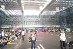 Shenzhen Exhibition Center Lobby, people eat at lunch Stock Image