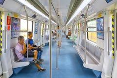 Shenzhen, interno del treno della metropolitana della porcellana Fotografia Stock Libera da Diritti