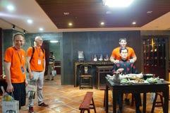 Shenzhen Kina: Äta middag landskapskulptur Royaltyfria Foton