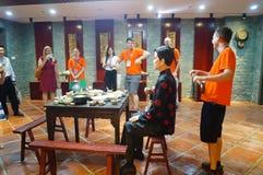 Shenzhen Kina: Äta middag landskapskulptur Royaltyfri Fotografi