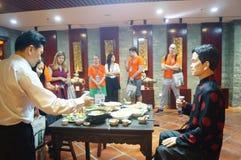 Shenzhen Kina: Äta middag landskapskulptur Royaltyfria Bilder