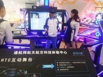 Shenzhen Kina: aktiviteter för rymdvetenskap och teknikerfarenhet, modellutrymmeutrustning arkivbild