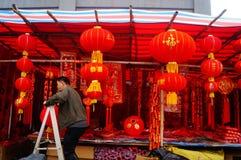 Shenzhen Kina: att att möta marknaden för blomma för vårfestival Royaltyfri Foto