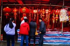 Shenzhen Kina: att att möta marknaden för blomma för vårfestival Royaltyfri Bild