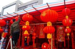 Shenzhen Kina: att att möta marknaden för blomma för vårfestival Royaltyfri Fotografi