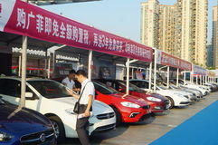 Shenzhen Kina: auto utställningförsäljningar arkivfoto