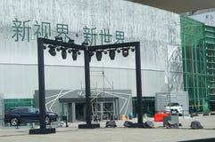 Shenzhen Kina: de nya bilkonferensförberedelserna Royaltyfria Foton