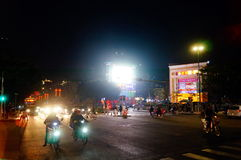 Shenzhen Kina: gatanattlandskap Arkivfoton