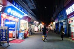 Shenzhen Kina: gatanattlandskap Arkivbild