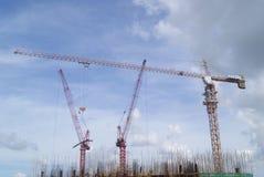Shenzhen Kina: konstruktionsplatsen av tornkranen Royaltyfria Bilder