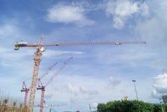 Shenzhen Kina: konstruktionsplatsen av tornkranen Arkivfoto