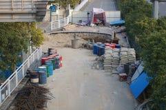 Shenzhen Kina: trottoarkonstruktion Fotografering för Bildbyråer