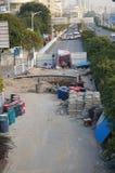Shenzhen Kina: trottoarkonstruktion Arkivbilder