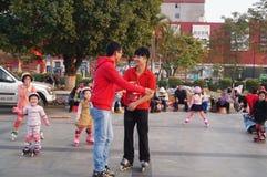 Shenzhen Kina: utomhus- åka skridskor Arkivbild