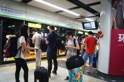 Shenzhen konwencja i Powystawowego centrum stacja metru obrazy royalty free