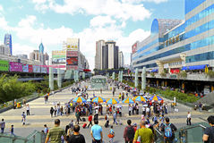 Shenzhen landmarks, china. Over view of shenzhen from the foot bridge outside shenzhen metro station : landmarks such as shenzhen metro station, luxury bus Stock Images