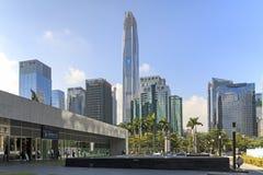Shenzhen linia horyzontu jak widzieć od giełda papierów wartościowych budynku obrazy royalty free