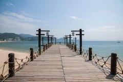 Shenzhen Meisha Seaside Park Valentine's golden coastline bridges Stock Image