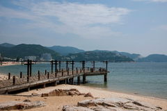 Shenzhen Meisha Seaside Park Valentine's golden coastline bridges Royalty Free Stock Photos