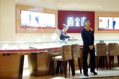 Shenzhen, porcelana: złocisty biżuteria sklep Zdjęcie Royalty Free