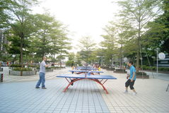 Shenzhen, porcellana: gioco del ping-pong Fotografia Stock