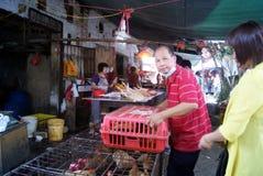 Shenzhen porslin: försäljningar av höns royaltyfria foton
