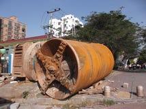 Shenzhen, Porzellan: Eine riesige Abwasserleitung in der PflasterungsBaustelle Stockfotografie