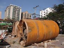 Shenzhen, Porzellan: Eine riesige Abwasserleitung in der PflasterungsBaustelle Lizenzfreie Stockfotos