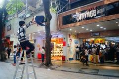 Shenzhen, Porzellan: Einkaufsstraße Lizenzfreie Stockbilder