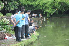 SHENZHEN SHEKOU fishing enthusiast in the park Stock Image