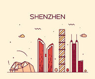 Shenzhen skyline trendy vector illustration linear Royalty Free Stock Images