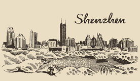 Shenzhen skyline vector illustration hand drawn Royalty Free Stock Photos