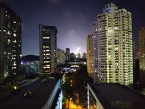 Shenzhen stad, Nanshan på natten arkivbild