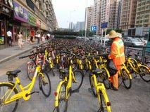 Shenzhen subway station entrance, dense sharing of bicycles Royalty Free Stock Images