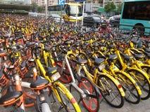 Shenzhen subway station entrance, dense sharing of bicycles Royalty Free Stock Photos