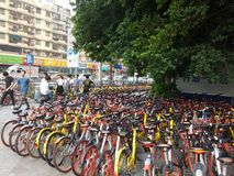 Shenzhen subway station entrance, dense sharing of bicycles Royalty Free Stock Photography