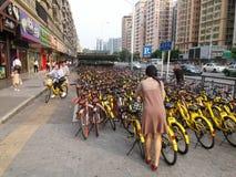 Shenzhen subway station entrance, dense sharing of bicycles Stock Photography