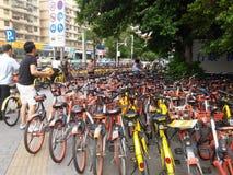 Shenzhen subway station entrance, dense sharing of bicycles Royalty Free Stock Photo