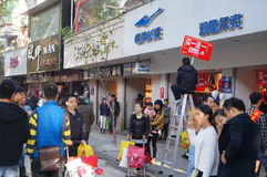 Shenzhen, Κίνα: Εμπορικό για τους πεζούς τοπίο οδών Xixiang Στοκ εικόνες με δικαίωμα ελεύθερης χρήσης