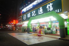 Shenzhen Xixiang commercial pedestrian street at night, in China Royalty Free Stock Photo
