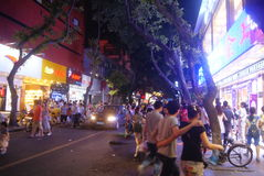Shenzhen Xixiang commercial pedestrian street at night, in China Stock Photos