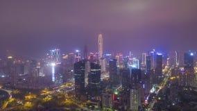 Shenzhenstad bij nacht Stedelijk Futian-District Guangdong, China Lucht Mening stock videobeelden