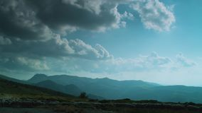 Shepard e gregge della depressione corrente delle pecore un campo verde video d archivio