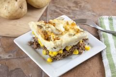 Shepards Pie. A meat, corn, and potato caserole often called Shepards pie Stock Images