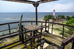 Shepelevsky lighthouse on the Gulf of Finland in Leningrad regio Royalty Free Stock Image