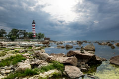 Shepelevsky lighthouse on the Gulf of Finland in Leningrad regio Stock Photography