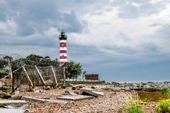 Shepelevsky lighthouse on the Gulf of Finland in Leningrad regio Stock Photo