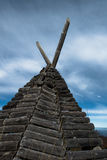 Sheperd's shelter on a Bobija mountain, looks like indian wigwam but made of wood royalty free stock photo